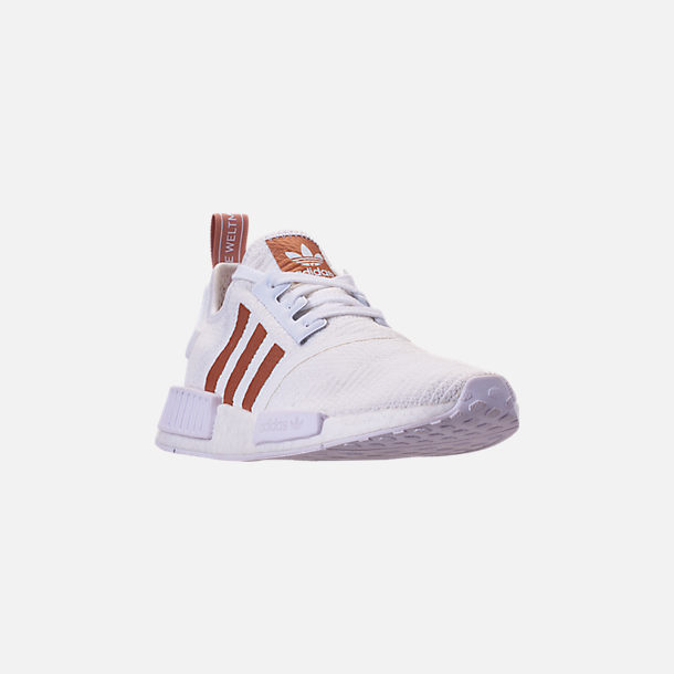 Three Quarter view of Women's adidas NMD R1 Casual Shoes in White/Copper