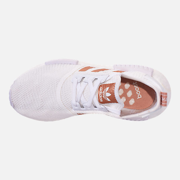 Top view of Women's adidas NMD R1 Casual Shoes in White/Copper
