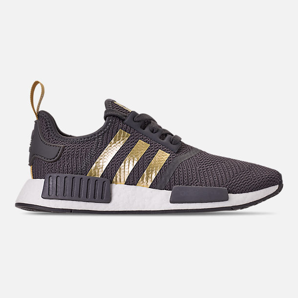 Right view of Women's adidas NMD R1 Casual Shoes in Grey/Gold Metallic/Pyrite