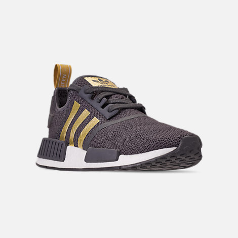 Three Quarter view of Women's adidas NMD R1 Casual Shoes in Grey/Gold Metallic/Pyrite