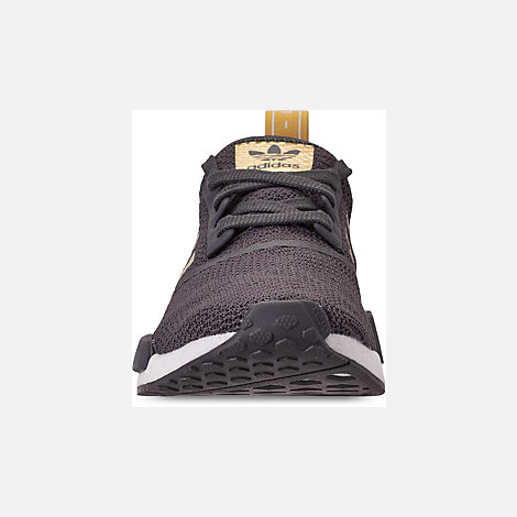 Front view of Women's adidas NMD R1 Casual Shoes in Grey/Gold Metallic/Pyrite