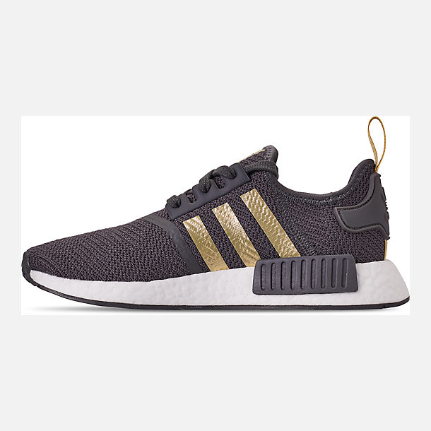 Left view of Women's adidas NMD R1 Casual Shoes in Grey/Gold Metallic/Pyrite