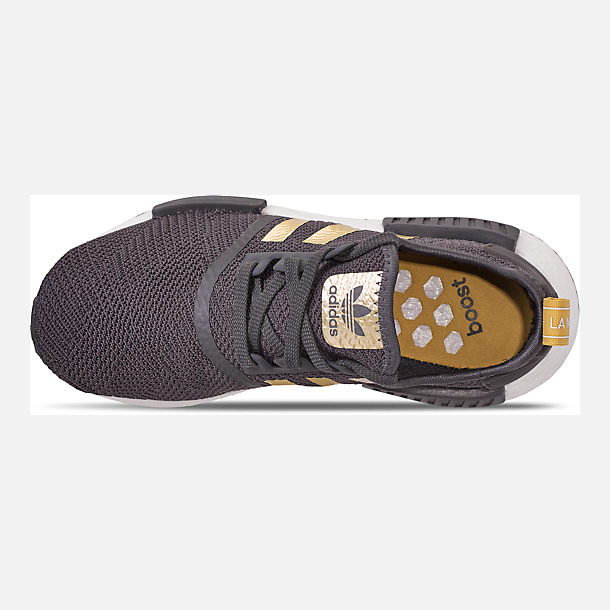 Top view of Women's adidas NMD R1 Casual Shoes in Grey/Gold Metallic/Pyrite