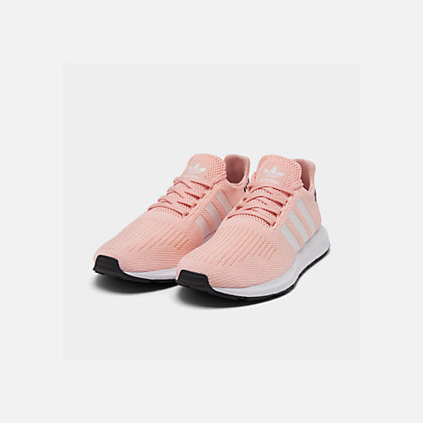 Three Quarter view of Boys' Little Kids' adidas Swift Run Casual Shoes in Icey Pink/White/Core Black