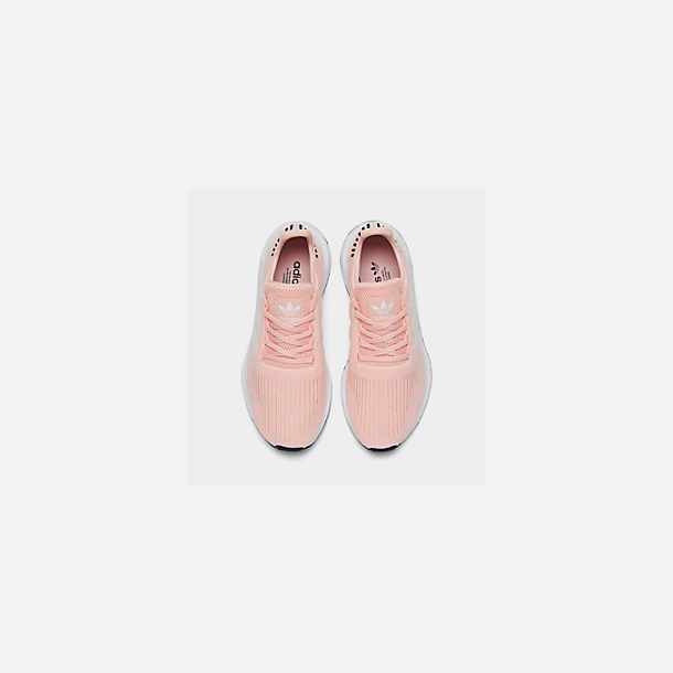 Back view of Boys' Little Kids' adidas Swift Run Casual Shoes in Icey Pink/White/Core Black
