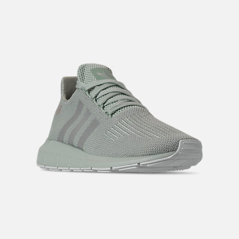 Three Quarter view of Women's adidas Swift Run Casual Shoes in Vapour Green/Grey Two/White