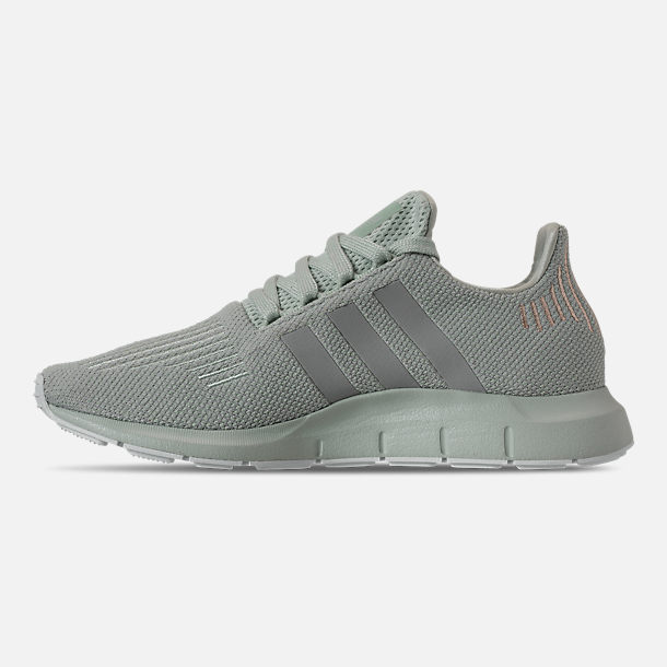 Left view of Women's adidas Swift Run Casual Shoes in Vapour Green/Grey Two/White