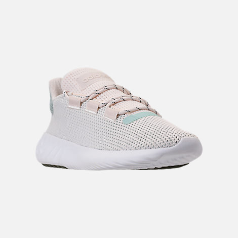 Three Quarter view of Women's adidas Tubular Dusk Casual Shoes in Chalk White/Ash Green/White