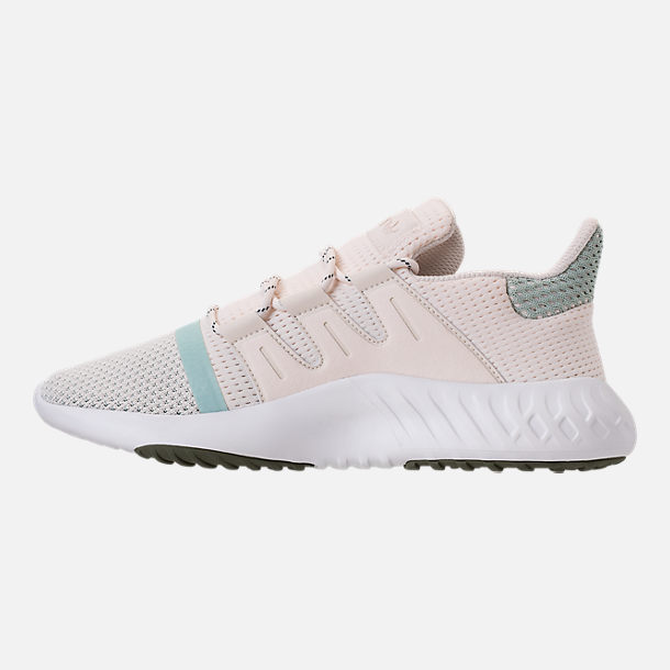 Left view of Women's adidas Tubular Dusk Casual Shoes in Chalk White/Ash Green/White