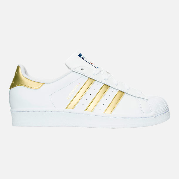 Right view of Women's adidas Originals Superstar Casual Shoes in White/Gold  Metallic/Blue