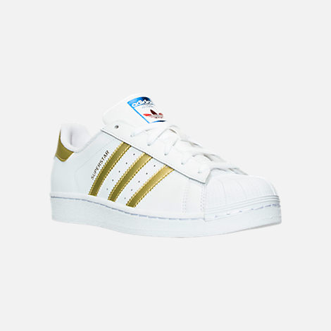 Three Quarter view of Women's adidas Originals Superstar Casual Shoes in  White/Gold Metallic/