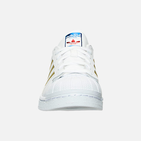 Front view of Women's adidas Originals Superstar Casual Shoes in White/Gold Metallic/Blue