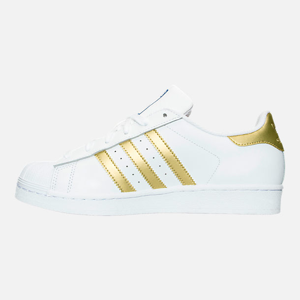 Left view of Women's adidas Originals Superstar Casual Shoes in White/Gold Metallic/Blue