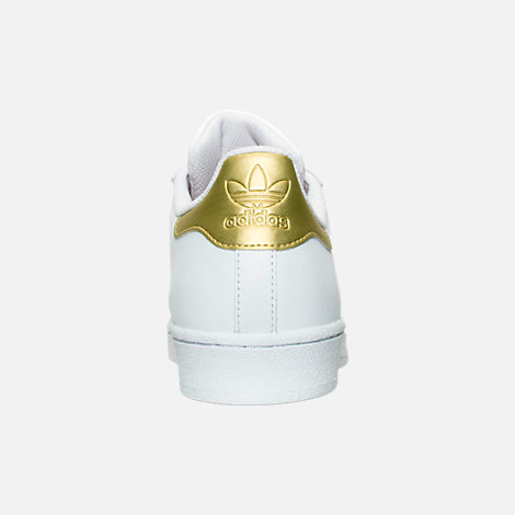 Back view of Women's adidas Originals Superstar Casual Shoes in White/Gold Metallic/Blue