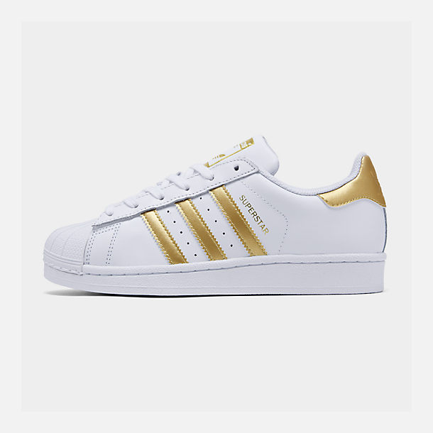 Right view of Big Kids' adidas Superstar Casual Shoes in White/Metallic Gold