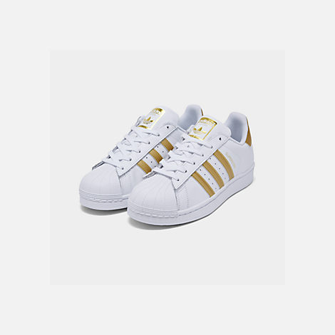 Three Quarter view of Girls' Grade School adidas Superstar x Pharrell  Williams Supercolor Casual Shoes