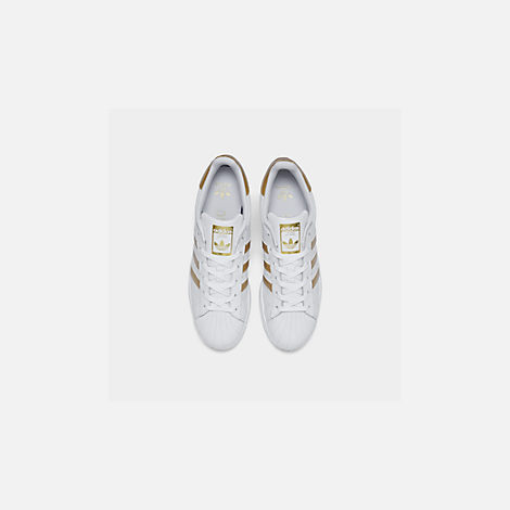 Back view of Big Kids' adidas Superstar Casual Shoes in White/Metallic Gold