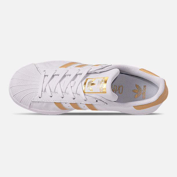 Top view of Big Kids' adidas Superstar Casual Shoes in White/Metallic Gold