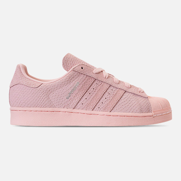 Right view of Women's adidas Originals Superstar Premium Casual Shoes in Icey Pink/Icey Pink/Silver Metallic