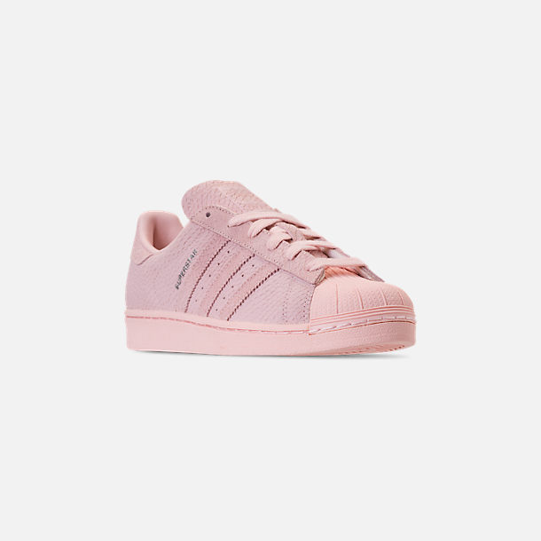 Three Quarter view of Women's adidas Originals Superstar Premium Casual Shoes in Icey Pink/Icey Pink/Silver Metallic