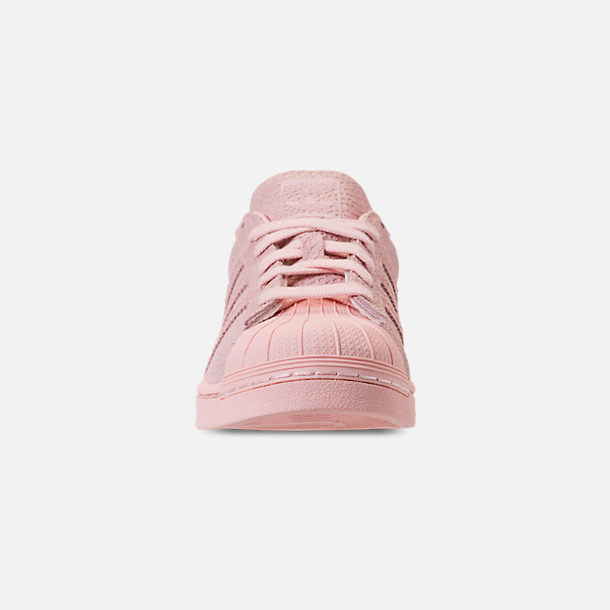 Front view of Women's adidas Originals Superstar Premium Casual Shoes in Icey Pink/Icey Pink/Silver Metallic