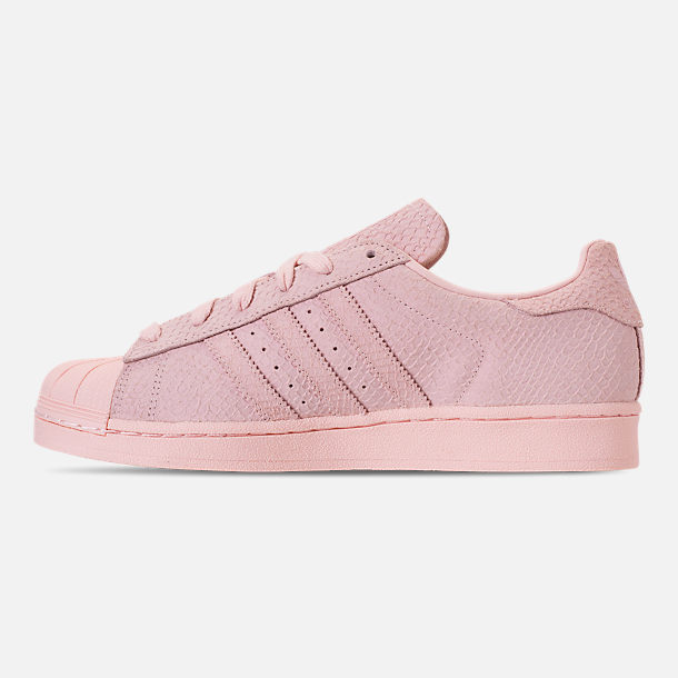Left view of Women's adidas Originals Superstar Premium Casual Shoes in Icey Pink/Icey Pink/Silver Metallic