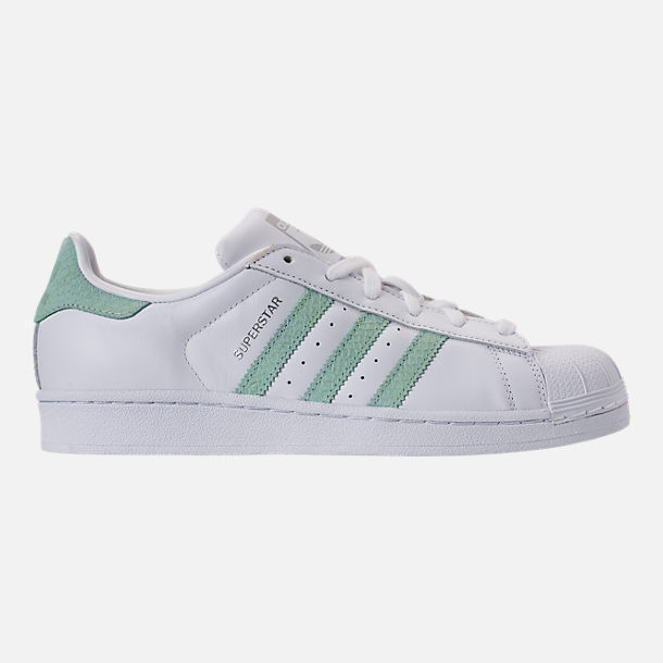 304faf7492 Right view of Women s adidas Originals Superstar Leather Casual Shoes in  Footwear White Ash Green