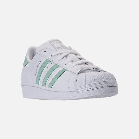 Three Quarter view of Women's adidas Originals Superstar Leather Casual Shoes in Footwear White/Ash Green/Silver Metallic