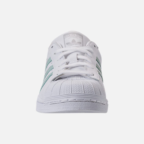 Front view of Women's adidas Originals Superstar Leather Casual Shoes in Footwear White/Ash Green/Silver Metallic