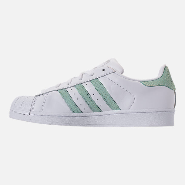 Left view of Women's adidas Originals Superstar Leather Casual Shoes in Footwear White/Ash Green/Silver Metallic