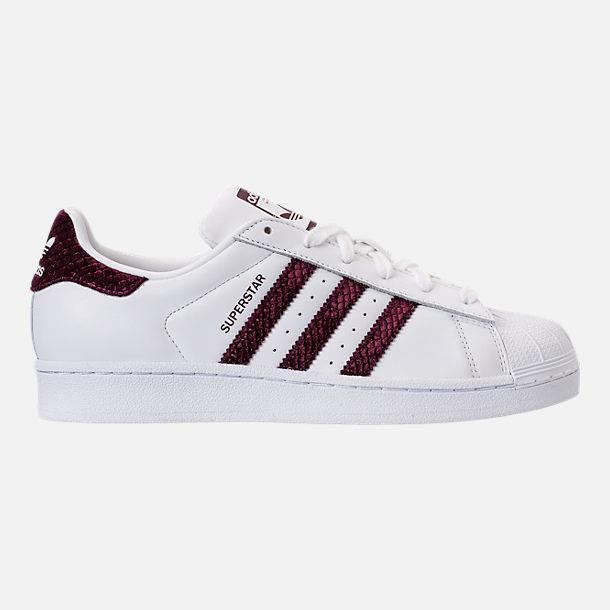 Right view of Women's adidas Originals Superstar Leather Casual Shoes in Footwear White/Red Night/Silver Metallic