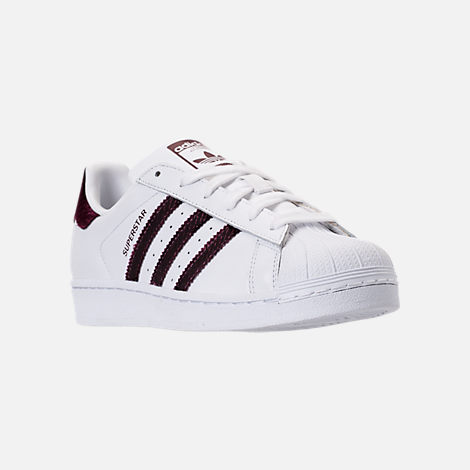 Three Quarter view of Women's adidas Originals Superstar Leather Casual Shoes in Footwear White/Red Night/Silver Metallic