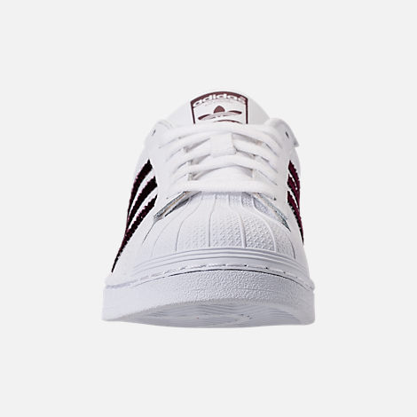 Front view of Women's adidas Originals Superstar Leather Casual Shoes in Footwear White/Red Night/Silver Metallic