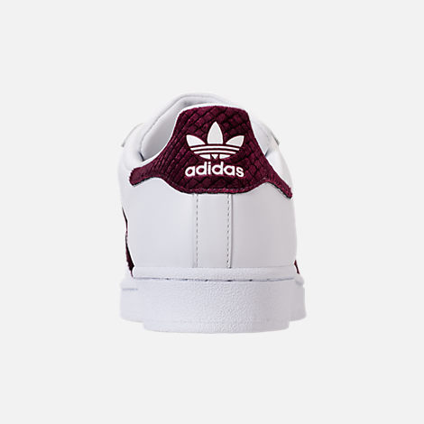 Back view of Women's adidas Originals Superstar Leather Casual Shoes in Footwear White/Red Night/Silver Metallic
