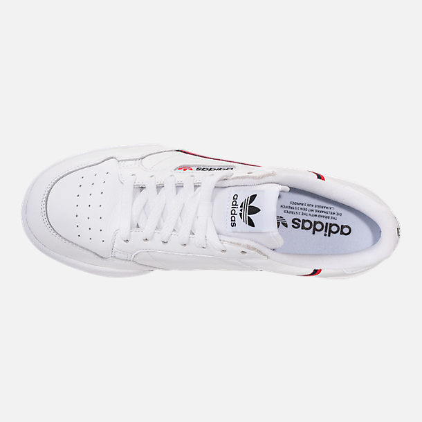 new style 6f7cc 361a6 Top view of Men s adidas Originals Continental 80 Casual Shoes in Footwear  White Scarlet