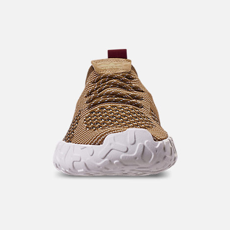 Front view of Men's adidas Originals F/22 Primeknit Casual Shoes in Raw Gold/Raw Desert/Collegiate Burgundy