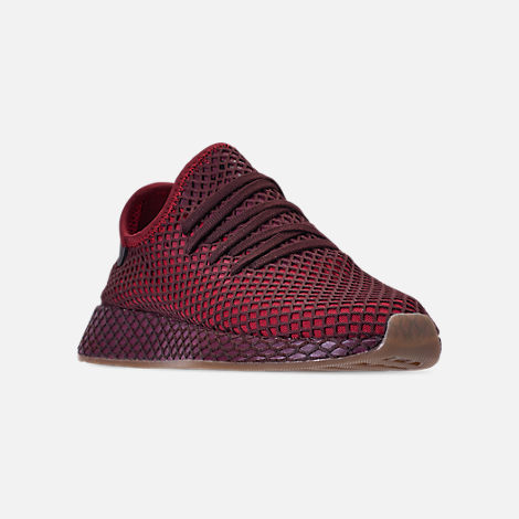 Three Quarter view of Men's adidas Originals Deerupt Runner Casual Shoes in Collegiate Burgundy