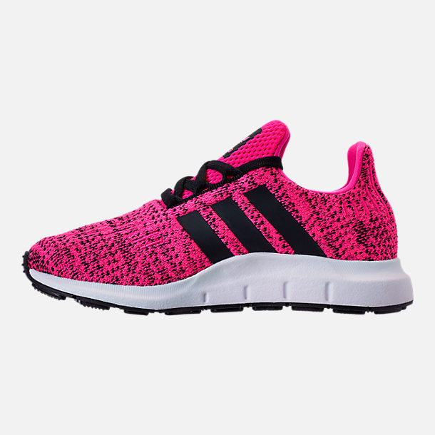 Left view of Girls' Little Kids' adidas Swift Run Casual Shoes in Shock Pink/Core Black/Core Black