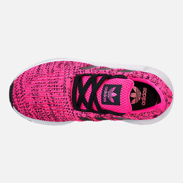 Top view of Girls' Little Kids' adidas Swift Run Casual Shoes in Shock Pink/Core Black/Core Black