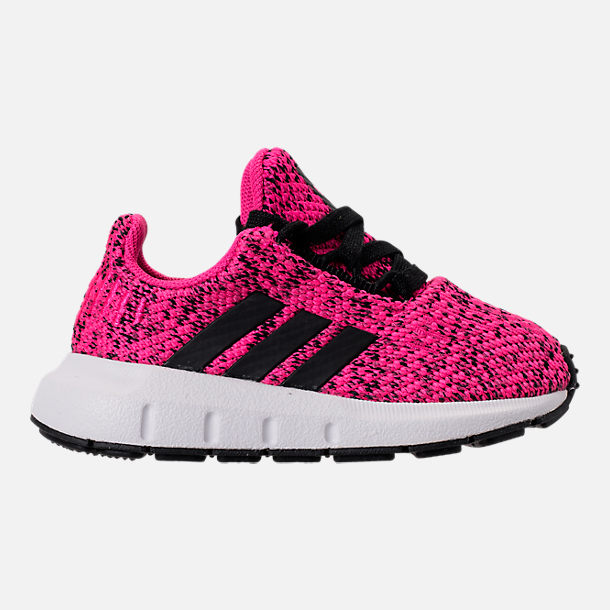 Right view of Girls' Toddler adidas Swift Run Casual Shoes in Shock Pink/Core Black/Core Black