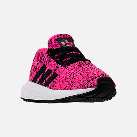 Three Quarter view of Girls' Toddler adidas Swift Run Casual Shoes in Shock Pink/Core Black/Core Black