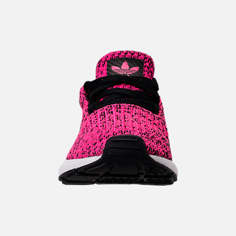 Front view of Girls' Toddler adidas Swift Run Casual Shoes in Shock Pink/Core Black/Core Black