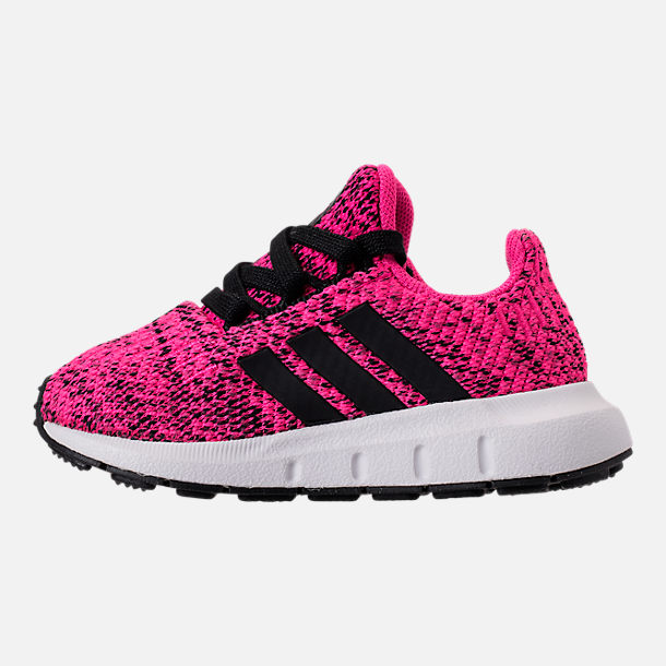 Left view of Girls' Toddler adidas Swift Run Casual Shoes in Shock Pink/Core Black/Core Black