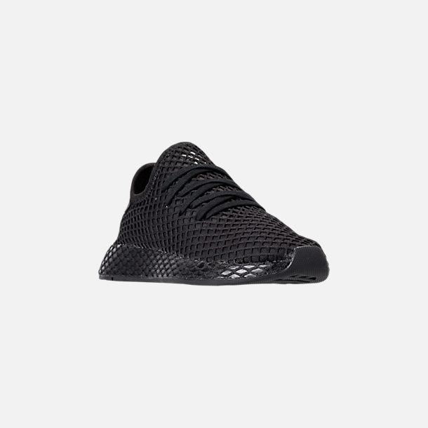 37802043de371 Three Quarter view of Big Kids  adidas Originals Deerupt Runner Casual Shoes  in Core Black