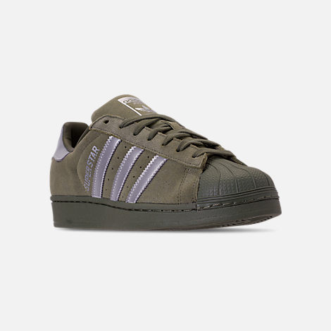 a55b2716cfd664 ireland three quarter view of mens adidas superstar reflective casual shoes  in base green silver 03857