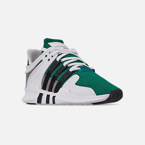 Three Quarter view of Boys' Big Kids' adidas EQT Support ADV Casual Shoes in Sub Green/Core Black/Feather White