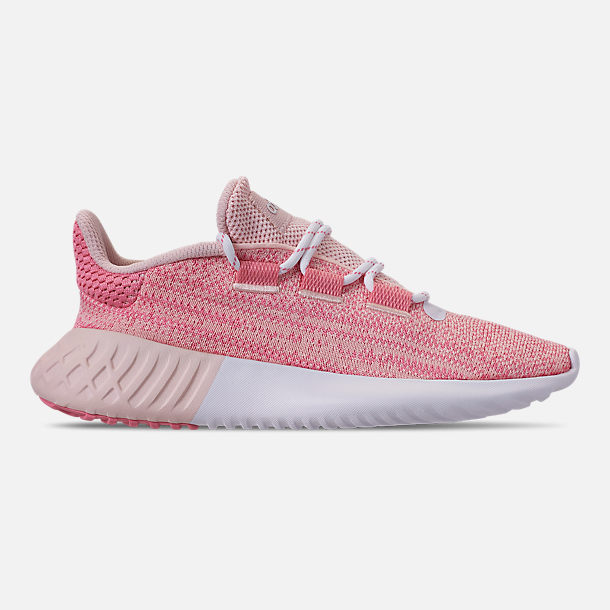 Right view of Girls' Big Kids' adidas Tubular Dusk Running Shoes in Icey Pink/Super Pop/Chalk White