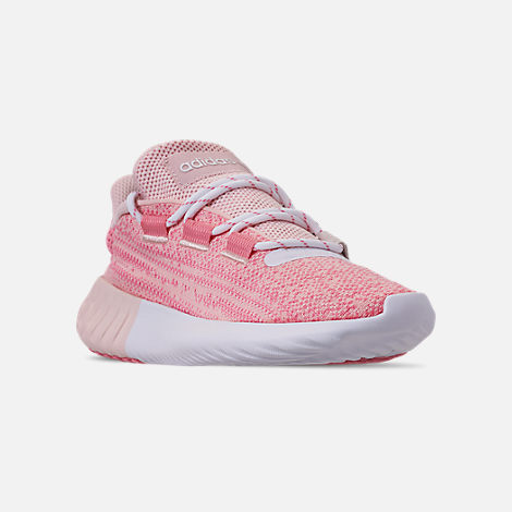 Three Quarter view of Girls' Big Kids' adidas Tubular Dusk Running Shoes in Icey Pink/Super Pop/Chalk White