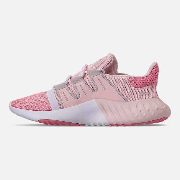 Left view of Girls' Big Kids' adidas Tubular Dusk Running Shoes in Icey Pink/Super Pop/Chalk White