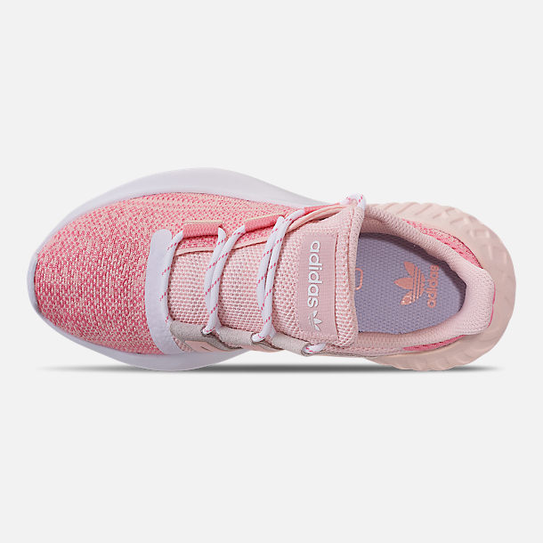 Top view of Girls' Big Kids' adidas Tubular Dusk Running Shoes in Icey Pink/Super Pop/Chalk White